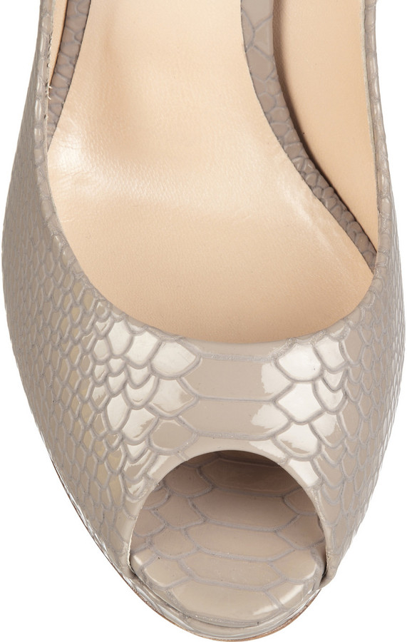 Casadei Snake-effect patent-leather pumps