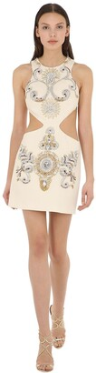Fausto Puglisi EMBELLISHED WOOL CREPE DRESS W/ CUT OUTS