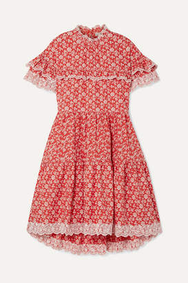 Ulla Johnson Leonie Broderie Anglaise-trimmed Floral-print Cotton-poplin Dress - Red