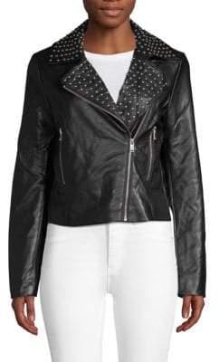 Bagatelle Embellished Faux Leather Moto Jacket