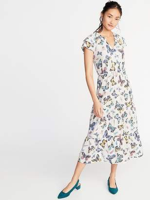 Old Navy Waist-Defined Ruffle-Sleeve Maxi for Women