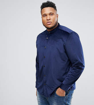 Asos DESIGN PLUS Velour Overshirt In Navy