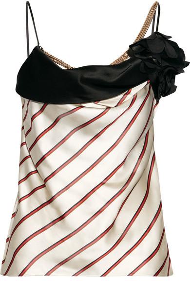 LanvinLanvin - Embellished Striped Satin-jacquard Camisole - Beige