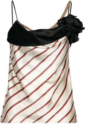 Lanvin - Embellished Striped Satin-jacquard Camisole - Beige $1,920 thestylecure.com