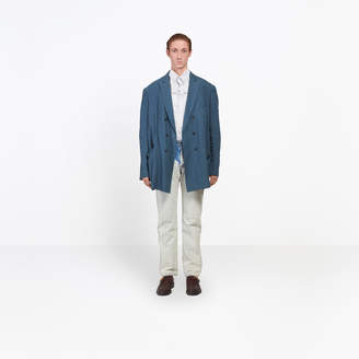 Balenciaga Washed soft linen double breasted jacket