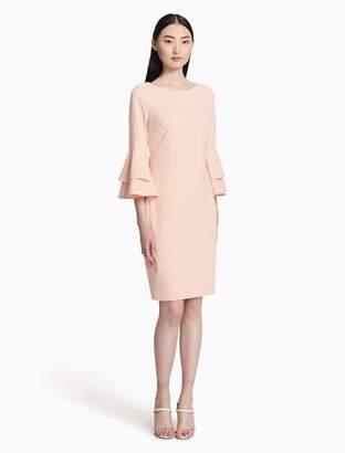 Calvin Klein scuba crepe 3/4 bell sleeve sheath dress