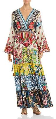 Johnny Was Dibble Mixed-Print Tiered Maxi Dress