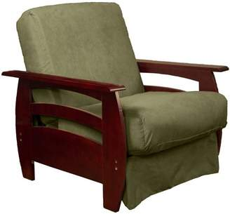 Comfort Style Soho Perfect Sit & Sleep Pocketed Coil InnerSpring Pillow Top Chair Sleeper Child Bed, Chair, Mahogany, Suede Olive Green