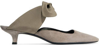 The Row Coco Leather And Satin Mules - Army green