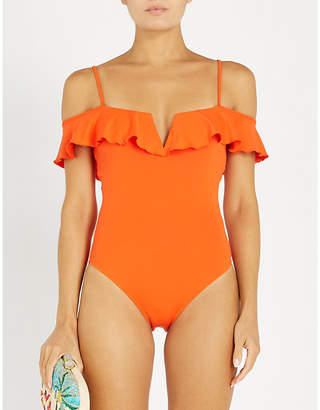 Cara Lazul cold-shoulder swimsuit