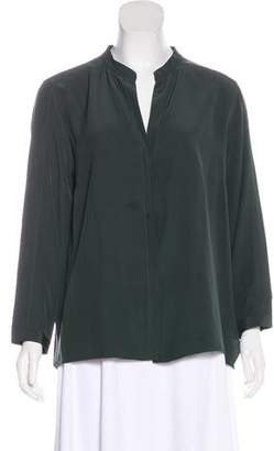 Akris Punto Silk Collarless Blouse