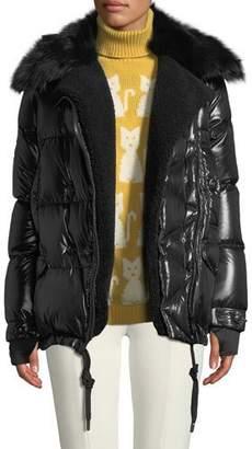 Moncler Seelisberg Puffer Coat w/ Fur Lining