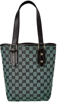 Gucci Green Gg Canvas & Black Leather Small Tote