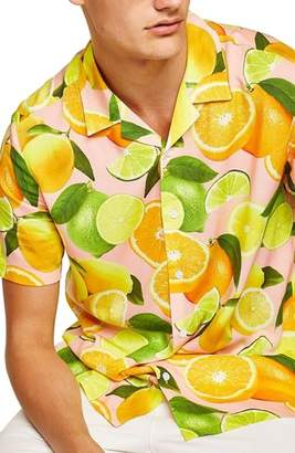 Topman Lemon Print Camp Shirt