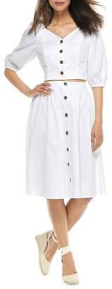 Gal Meets Glam Two-Piece Button-Up A-Line Dress Set w/ Crop Top & Skirt