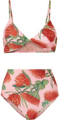 Adriana Degreas - Twist-front Floral-print Bikini - Antique rose