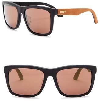 Puma 56mm Square Suede Sunglasses