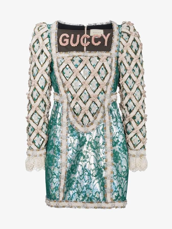 Pearl Embellished Guccy Silk Mini Dress