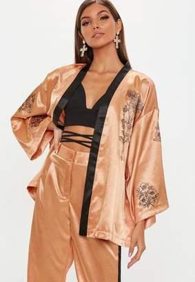 Missguided Camel Contrast Floral Tie Waist Jacket