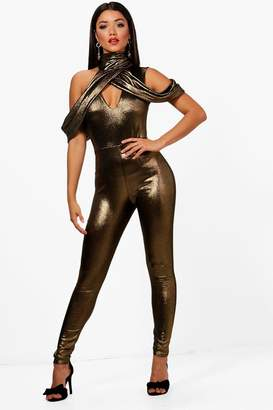 boohoo High Neck Cold Shoulder Metallic Jumpsuit