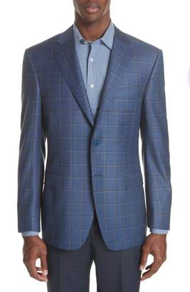 Canali Classic Fit Windowpane Wool Sport Coat