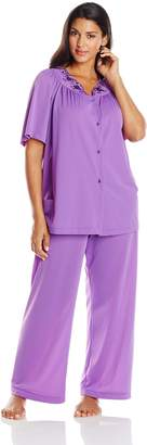 Shadowline Women's Plus-Size Petals Short Sleeve Pajama