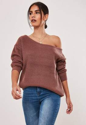 Missguided Mocha Off Shoulder Knit Sweater