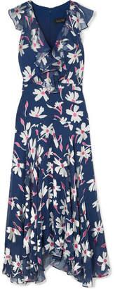 Saloni Rita Ruffled Devoré Silk-blend Chiffon Midi Dress