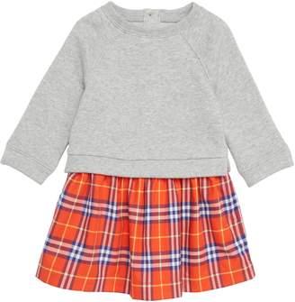 Burberry Check & Cotton Sweater Dress