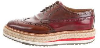 Prada Jute Accented Leather Brogues