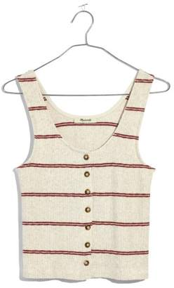 Madewell Stripe Ribbed Button Front Tank