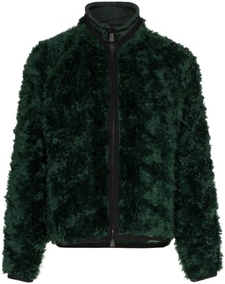 Moncler drawstring neck knitted mohair blend jacket