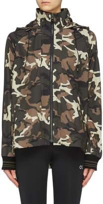 The Upside 'Camo Ash' print striped sleeve hooded track jacket