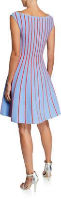 Carolina Herrera Striped Knit Fit-and-Flare Dress