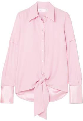 Victoria Beckham Victoria, Knotted Satin-trimmed Silk Shirt - Pastel pink