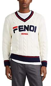 "Fendi Men's Mania"" Embroidered Wool Sweater - White"