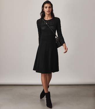 Reiss ORDER BY MIDNIGHT DEC 15TH FOR CHRISTMAS DELIVERY DARCIE FIT AND FLARE DRESS Black
