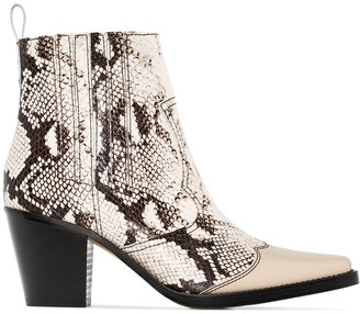 Ganni Lovina 70mm snake-print leather cowboy boots