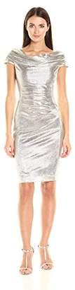 Tahari by Arthur S. Levine Women's Foil Knit Cowl Neck Short Dress
