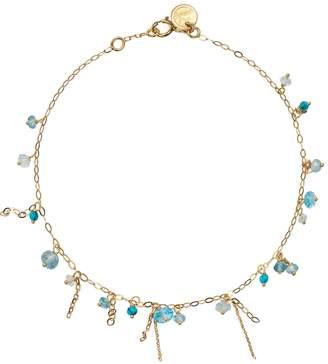 Sweet Pea Blue Topaz and Turquoise Pogo Punk Beaded Bracelet - Yellow Gold