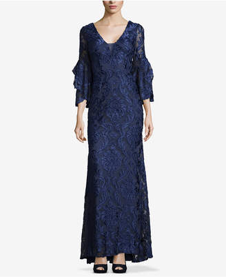 Betsy & Adam Embroidered Flutter-Sleeve Gown
