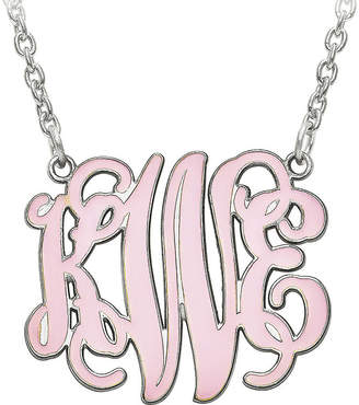 FINE JEWELRY Personalized 25mm Sterling Silver Enamel Monogram Necklace