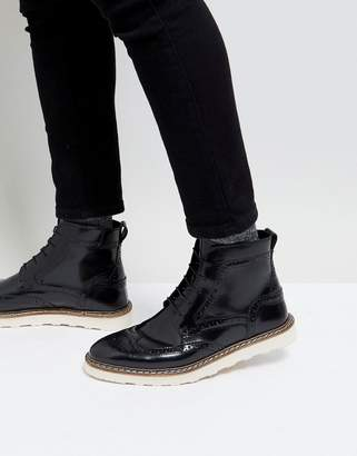 Asos Brogue Boots In Black Leather With Contrast Sole