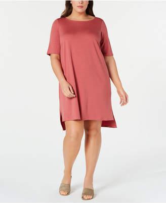 822420b1edb Eileen Fisher Plus Size Elbow-Sleeve High-Low Tencel TM Dress