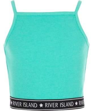 River Island Girls turquoise rib RI hem cami crop top