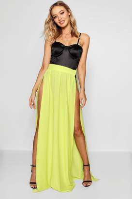 boohoo Woven Extreme Side Split Maxi Skirt