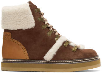 See by Chloe Brown Shearling Eileen Boots