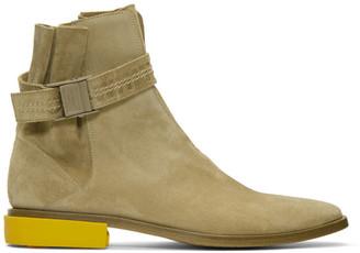 Off-White Off White Beige Suede Jodhpur Boots