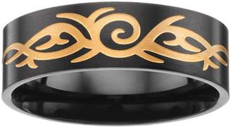 Men's Two Tone Ion-Plated Stainless Steel Tribal Band