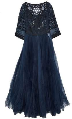 Carolina Herrera Appliquéd Broderie Anglaise Organza-Paneled Plissé Silk-Tulle Gown